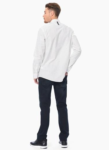 Que Çizgili Slim Fit Uzun Kollu Gömlek Beyaz